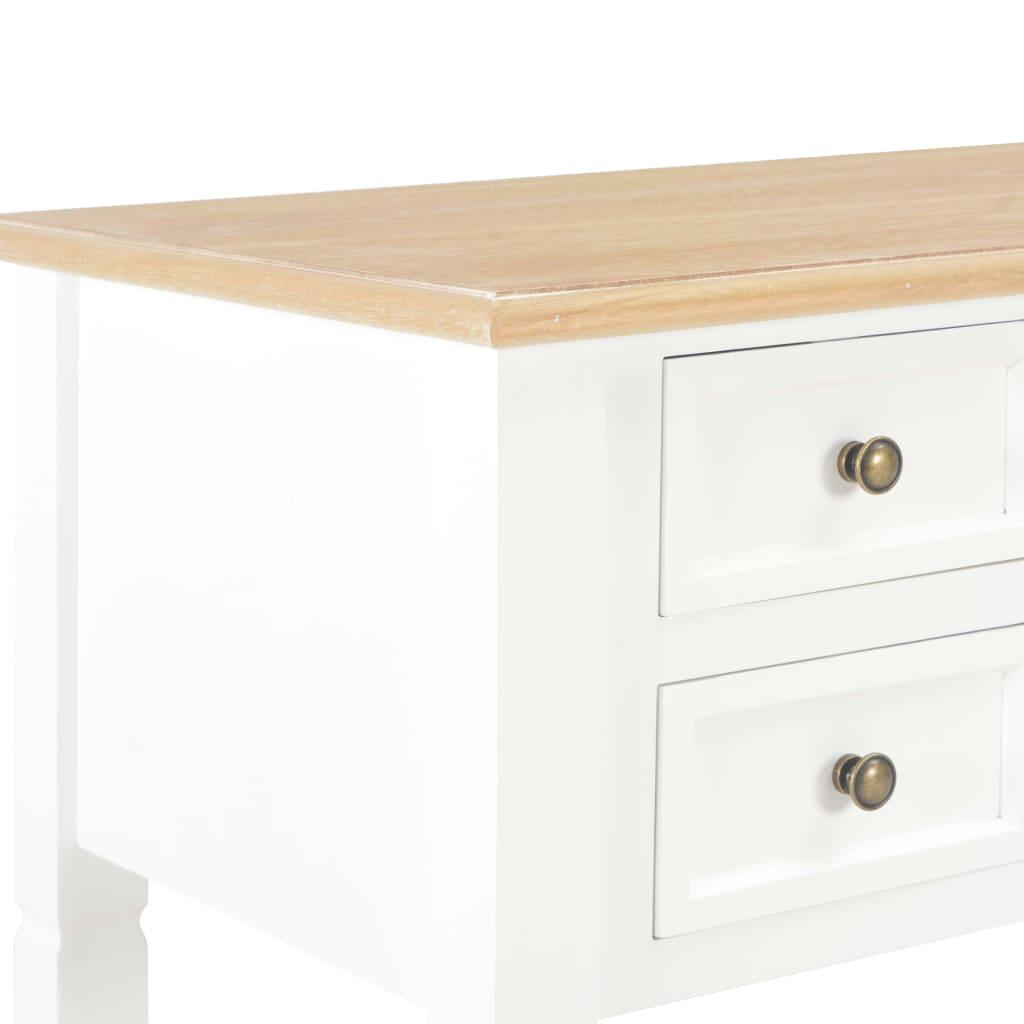 Skrivbord brun och vit 109,5x45x77,5 cm trä