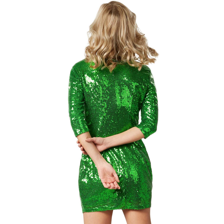 Köp Långärmad klänning med paljetter röd Red M   Fyndiq